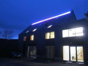 Nachtaufnahme mit neuer Dachziegelbeleuchtung 2015